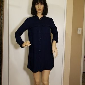 Divided Shirt Dress, Navy Blue Rayon